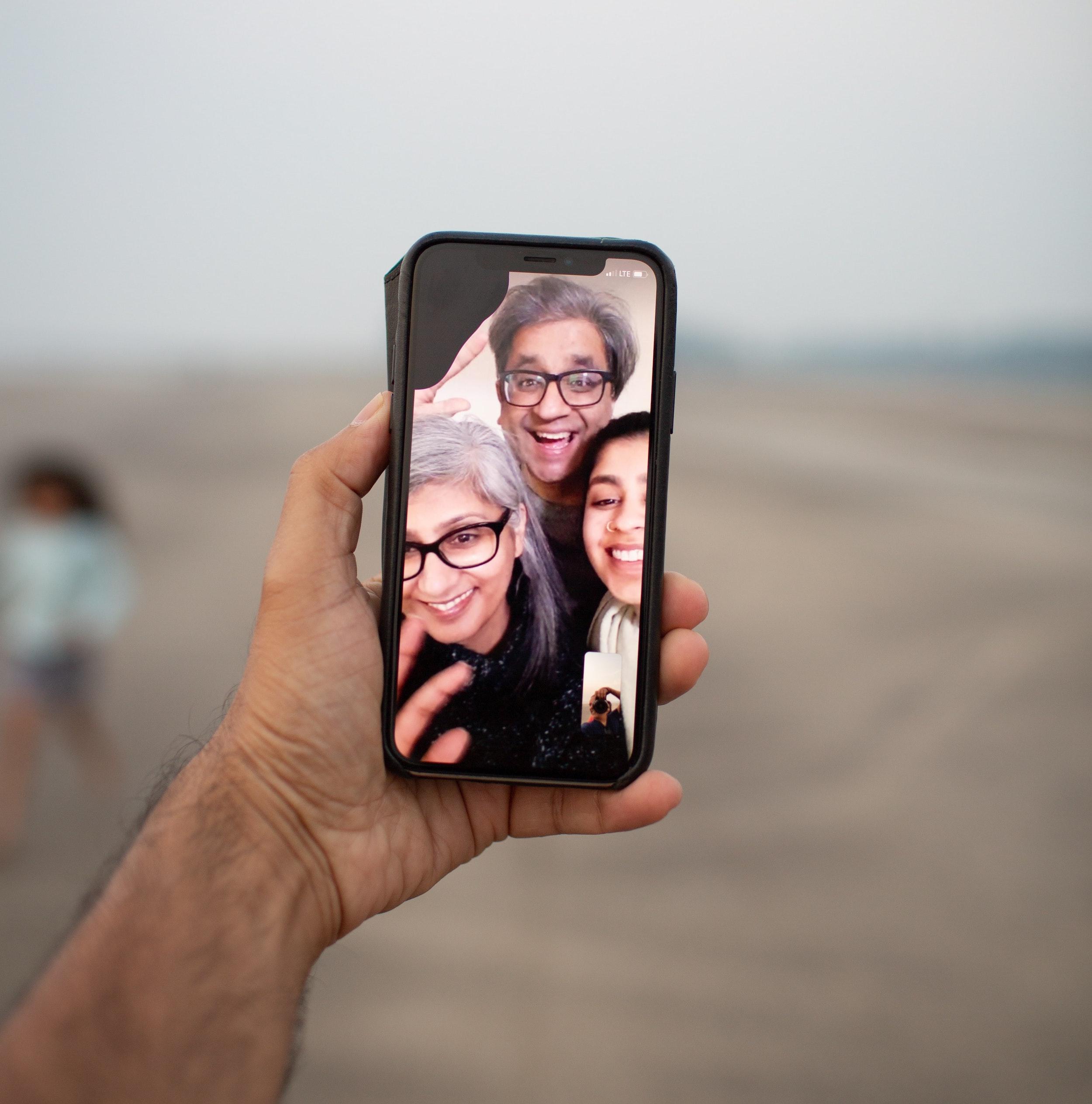 Social gathering via Facetime on phone